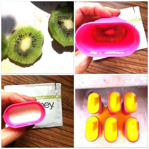 Selbstgemachtes Eis mit Kiwi Joghurt Proteinpulver