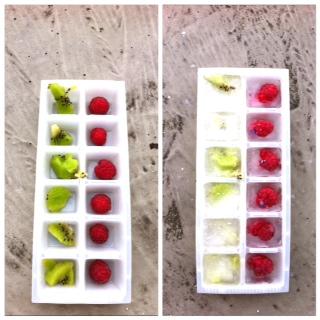 Eiswürfel mit Obst